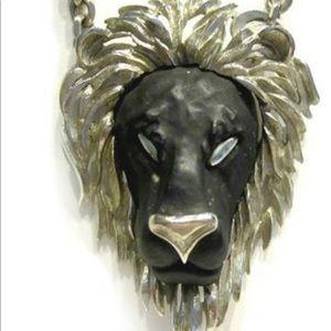 Vintage black face razza lion face necklace